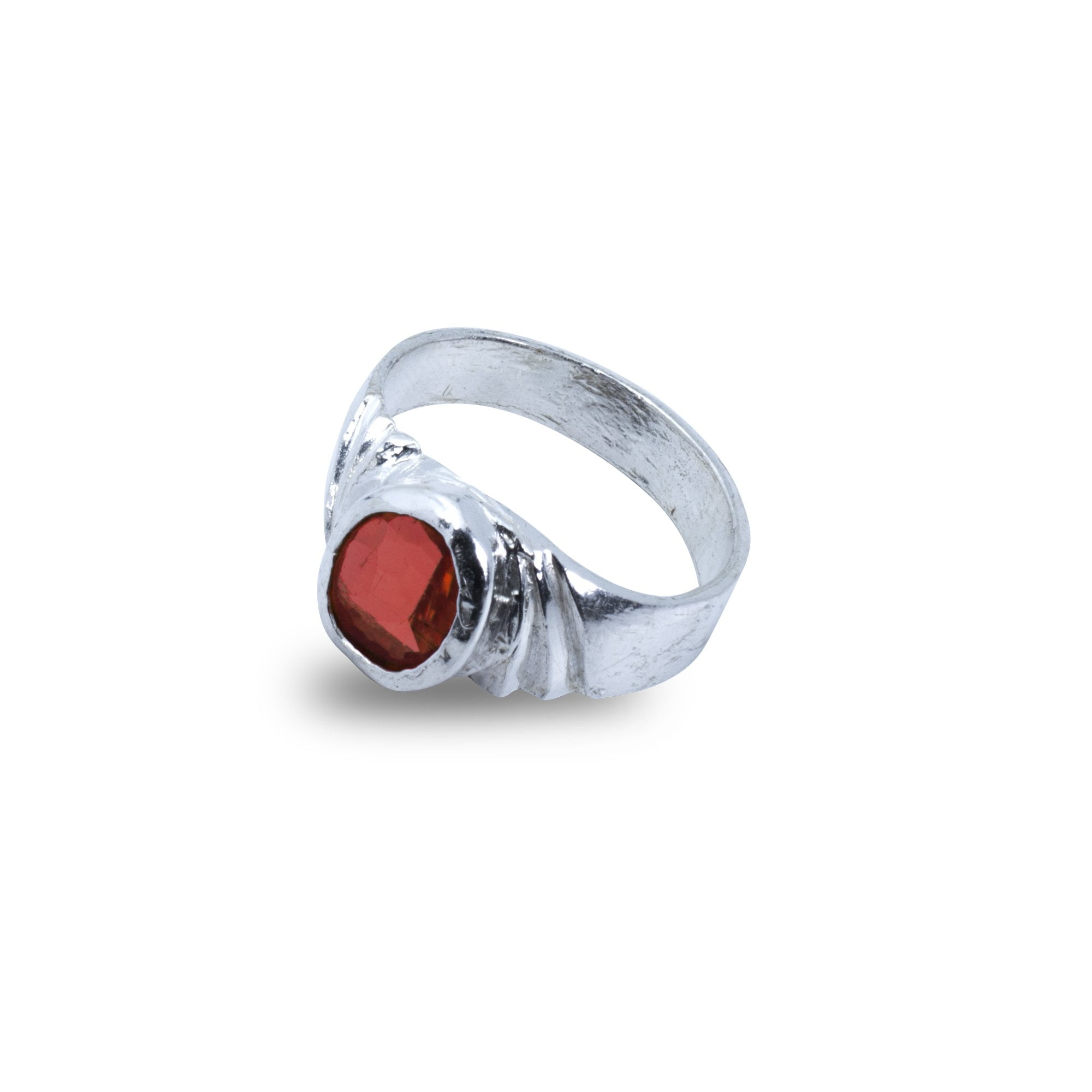 Gomed Silver Ring