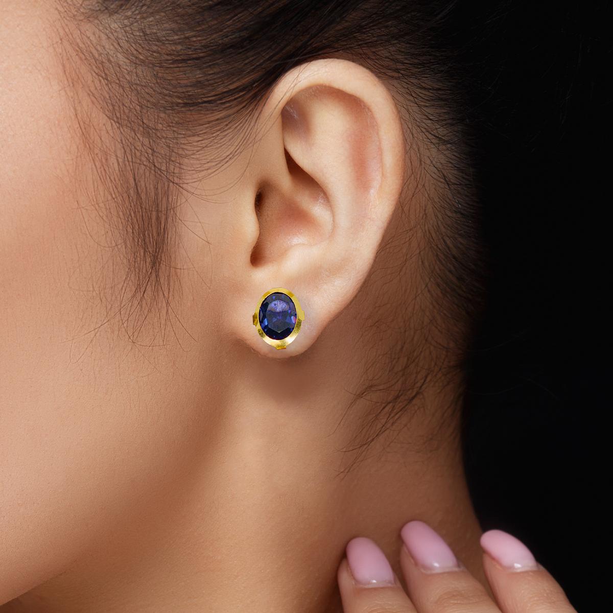 Sapphire Elliptic Earrings