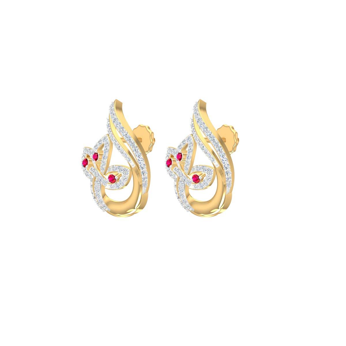 Crimson Star Gold Earrings