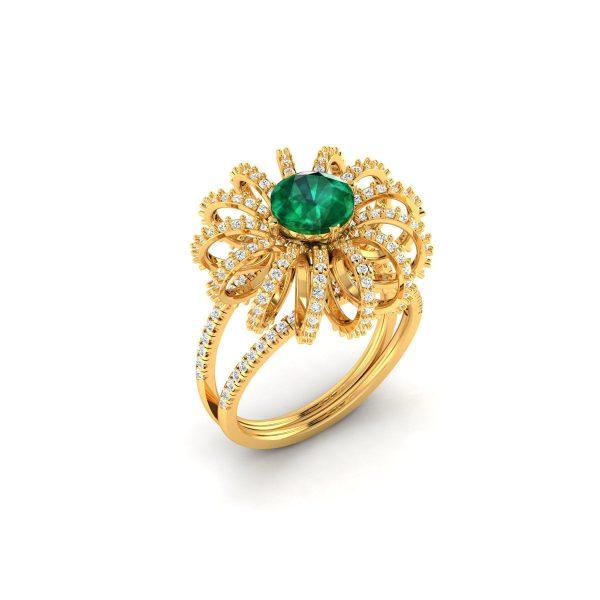 Emerald Bloom Diamond Ring