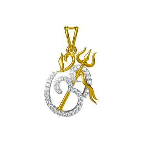 Om Trishul Diamond Pendant
