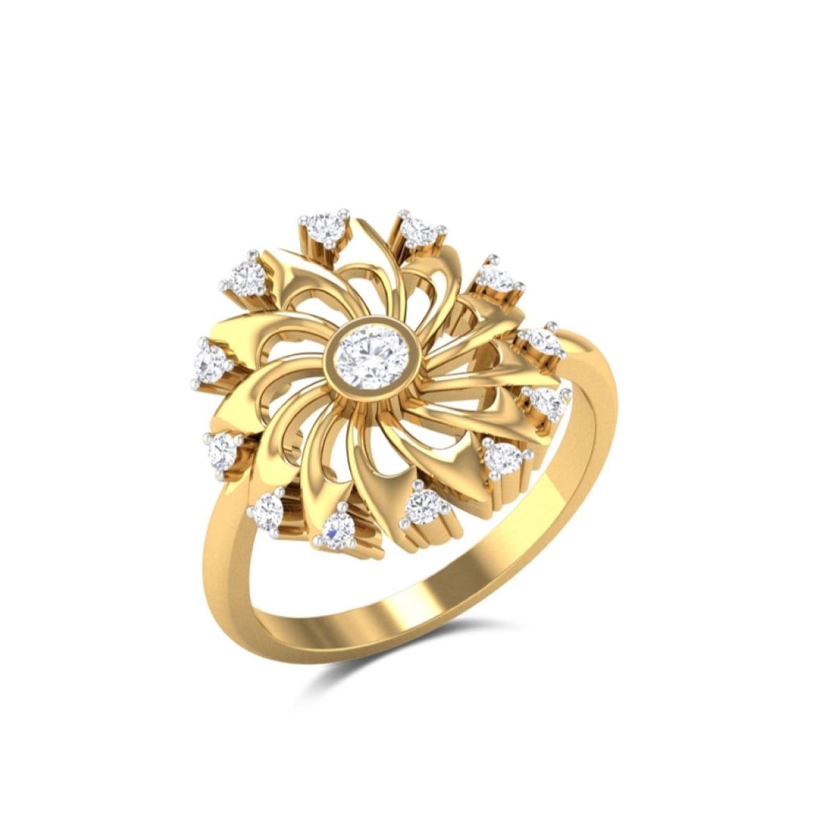 Gold Wheel Diamond Ring