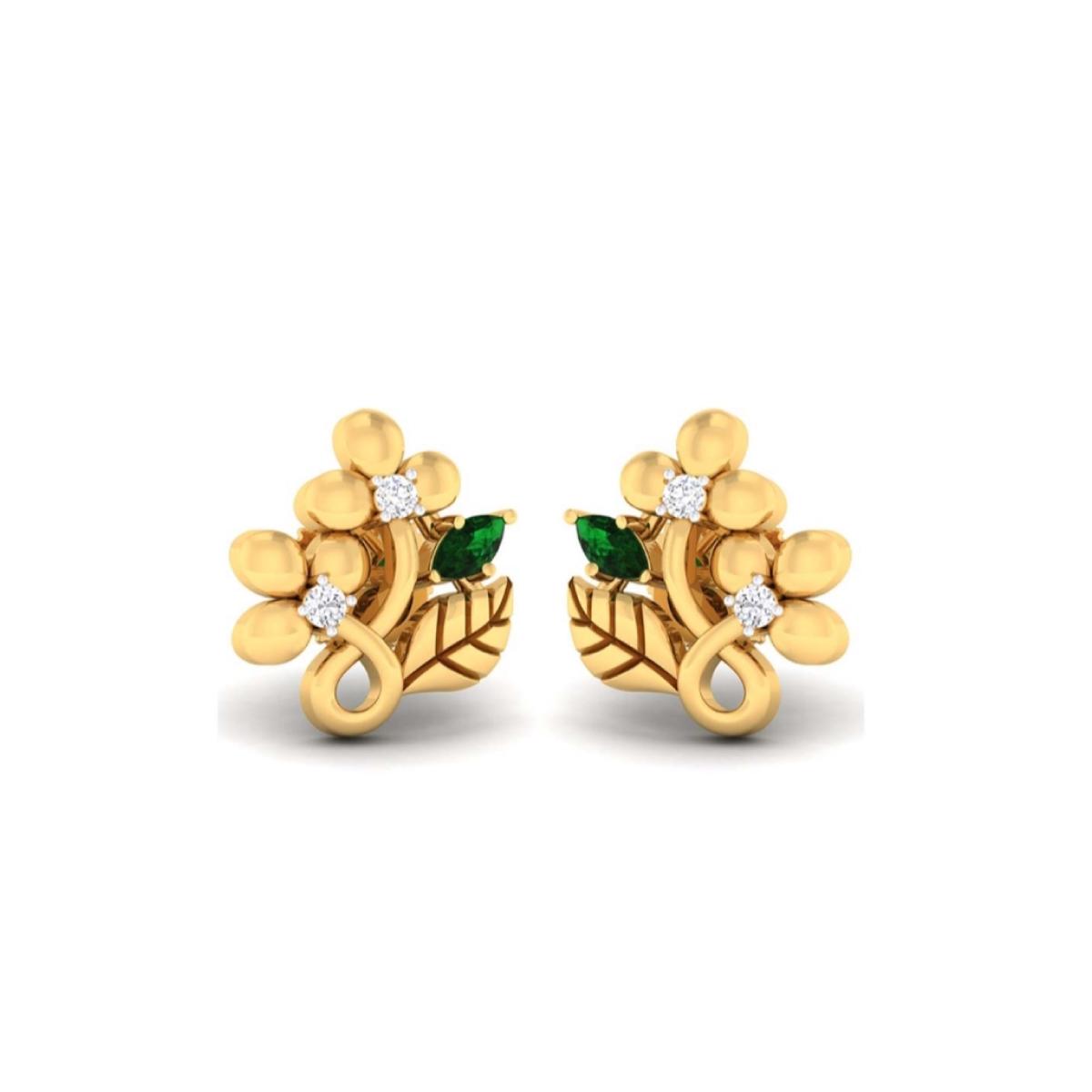 Two Flower Gold Earrings