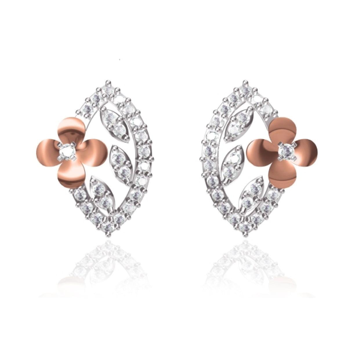 Flower Edge Gold Earrings