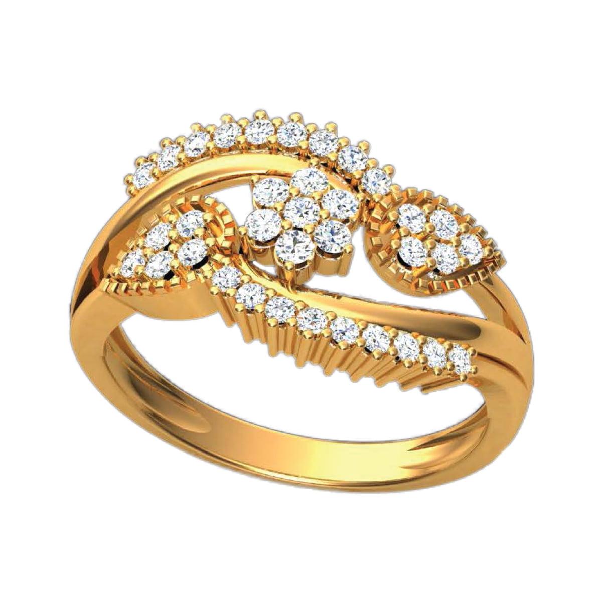 Flower Heart Gold Ring