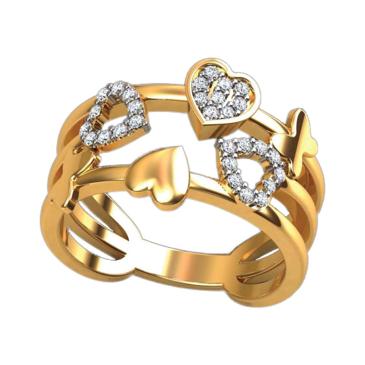 Heart Deck Diamond Ring