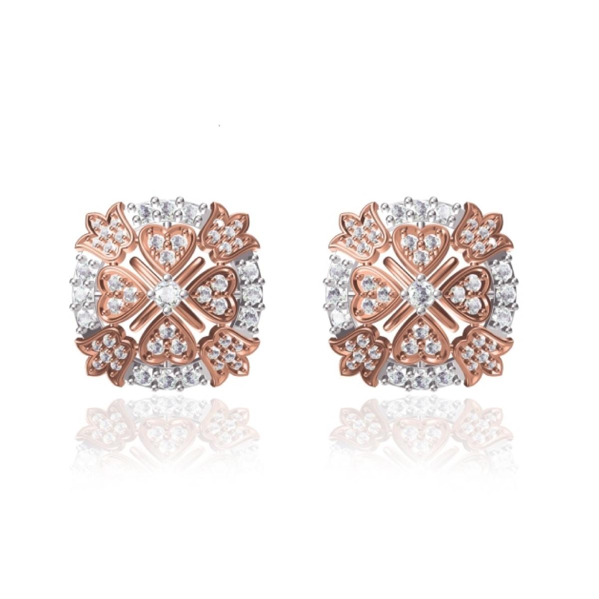 Rose Cushion Gold Earrings